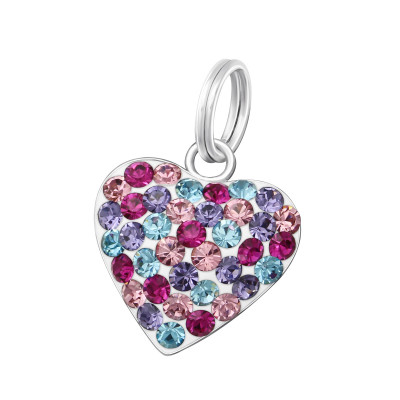 Silver Heart Charm with Split Ring with Crystal