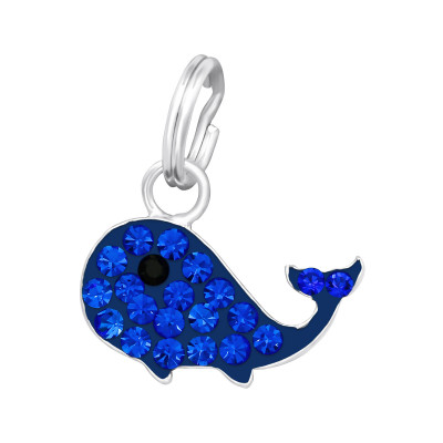 Silver Whale Charm with Split Ring and Crystal