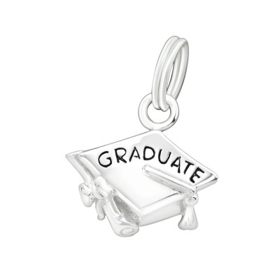 Silver Graduate Charm with Split Ring