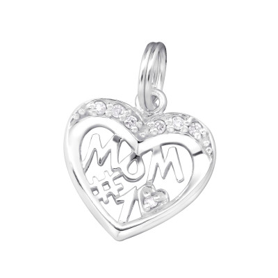 Silver #1 Mom Charm with Split Ring and Cubic Zirconia