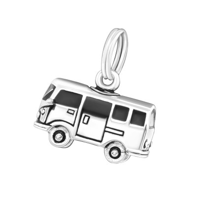 Silver Van Charm with Split Ring and Epoxy