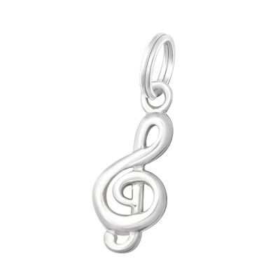Silver Treble Clef Charm with Split Ring