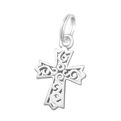 Silver Cross Charm with Split Ring