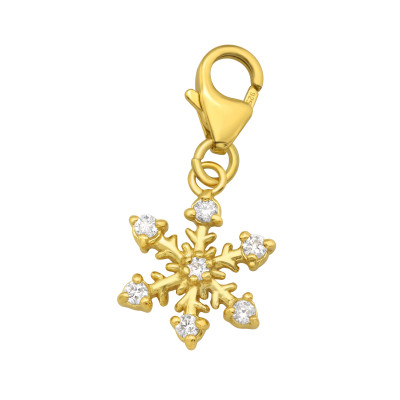 Silver Snowflake Clip on Charm with Cubic Zirconia