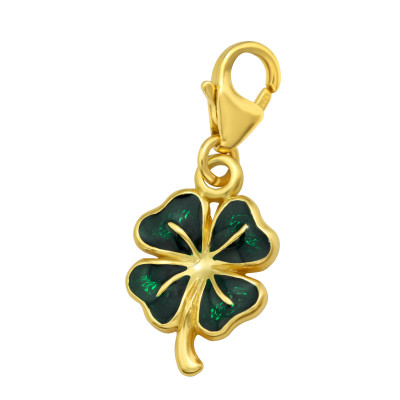 Silver Lucky Clover Clip on Charm with Epoxy