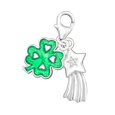 Silver Lucky Clover Clip on Charm with Cubic Zirconia