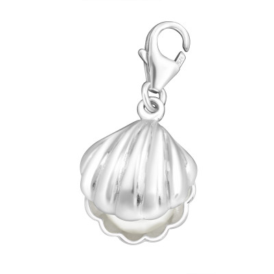 Silver Shell Clip on Charm with Synthetic Pearl