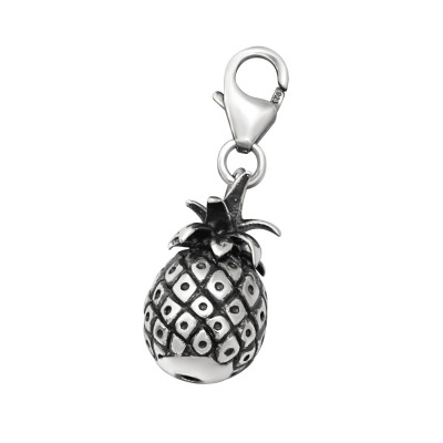Silver Pineapple Clip on Charm