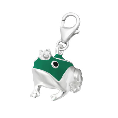 Silver Frog Clip on Charm with Cubic Zirconia