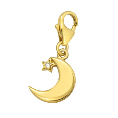 Silver Crescent Moon Clip on Charm with Cubic Zirconia