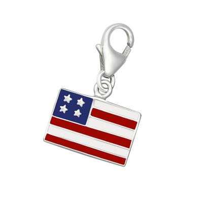 Silver USA Flag Clip on Charm