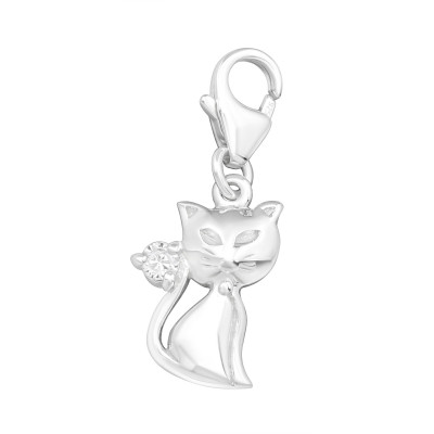 Silver Cat Clip on Charm with Cubic Zirconia