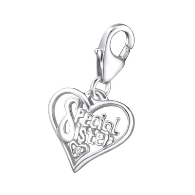 Silver Heart Clip on Charm and Cubic Zirconia