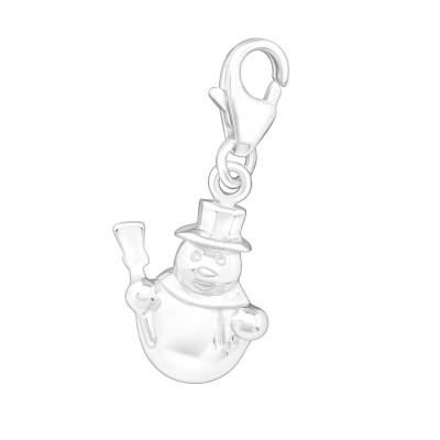 Silver Snowman Clip on Charm
