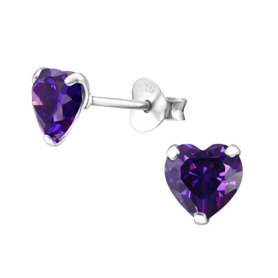Birthstone Heart 6mm Silver Ear Studs with Cubic Zirconia