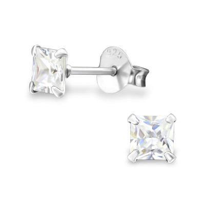 Silver Square 4mm Ear Studs with Cubic Zirconia