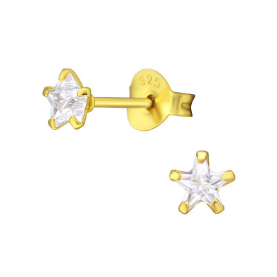 Silver Star 4mm Ear Studs with Cubic Zirconia