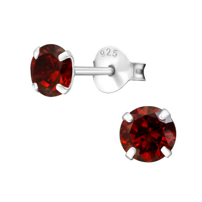 Birthstone Round 5mm Silver Ear Studs with Cubic Zirconia