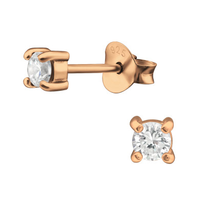 Silver Round 3mm Ear Studs with Cubic Zirconia
