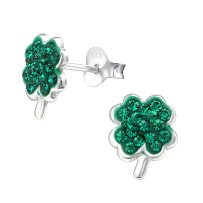 Silver Lucky Clover Ear Studs with Crystal
