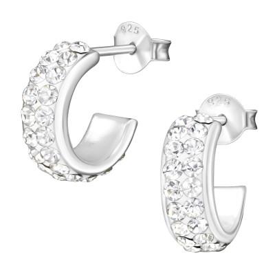 Silver Half Hoop Ear Studs with Crystal