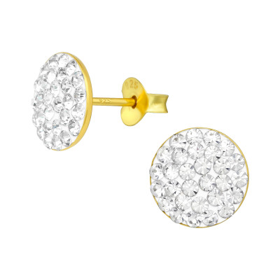 Silver Round Ear Studs with Crystal