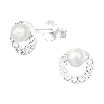 Silver Round Ear Studs with Synthetic Pearl and Crystal