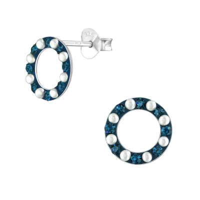 Silver Circle Ear Studs with Synthetic Pearl and Crystal