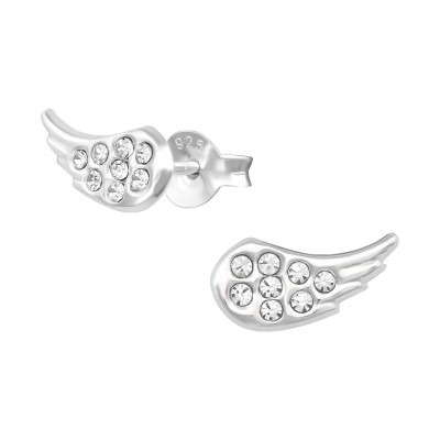 Silver Wing Ear Studs with Crystal