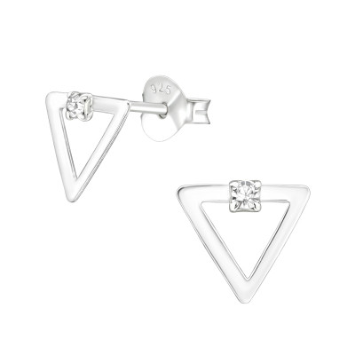 Silver Triangle Ear Studs with Crystal
