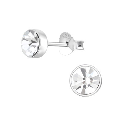 Silver Round 5mm Ear Studs with Crystal