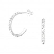 Half Hoop sterling silver earrings with crystals from Swarovoski®   La Crystale