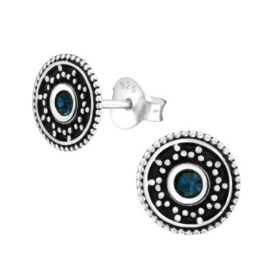 Silver Oxidized Ear Studs with Crystal