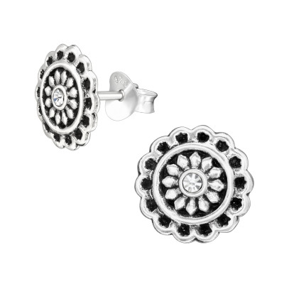 Silver Flower Ear Studs with Crystal