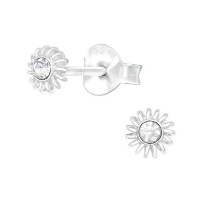 Silver Sun Ear Studs with Crystal