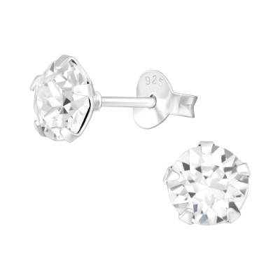Silver Round 6mm Ear Studs with Crystals