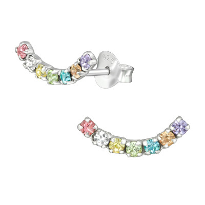 Silver Curve Ear Studs with Crystal