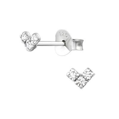 Silver Mini Heart Ear Studs with Crystal