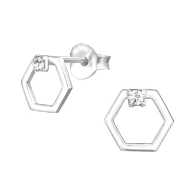 Silver Hexagon Ear Studs with Crystal