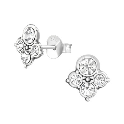 Silver Antique Ear Studs with Crystal