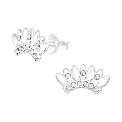 Silver Crown Ear Studs with Crystal