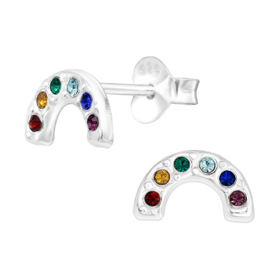 Silver Semi Circle Ear Studs with Crystal