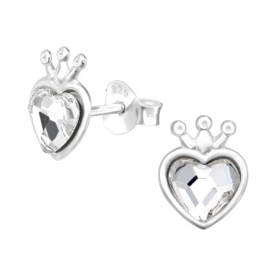 Silver Heart Crown Ear Studs with Crystal
