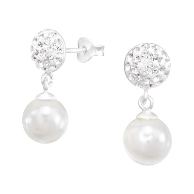 Silver Round Ear Studs with Crysta Hanging and Synthetic Pearl