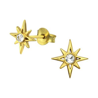 Silver Northern Star Ear Studs with Crystal