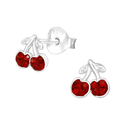 Silver Cherry Ear Studs with Crystal