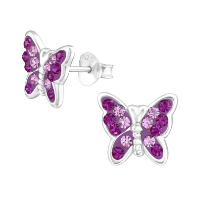 Silver Butterfly Ear Studs with Crystal