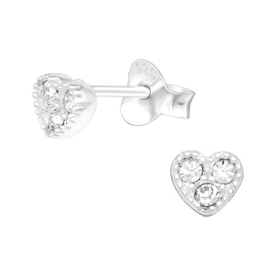 Silver Heart Ear Studs with Crystal