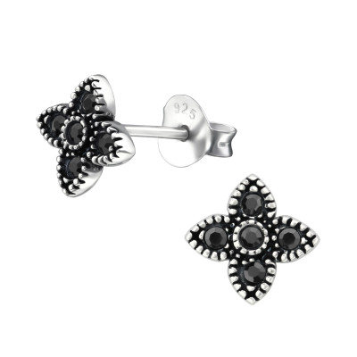 Silver Bali Star Ear Studs with Crystal