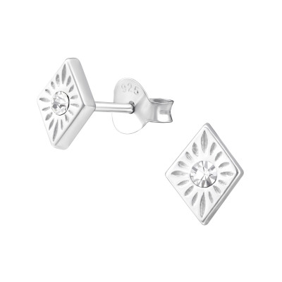 Silver Diamond Shaped Ear Studs with Crystal